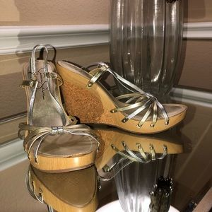 Silver and gold wedge shoes